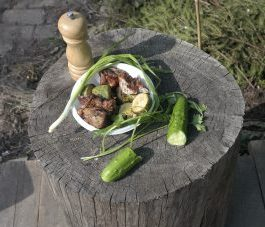 готовый шашлык из кабачка и мяса