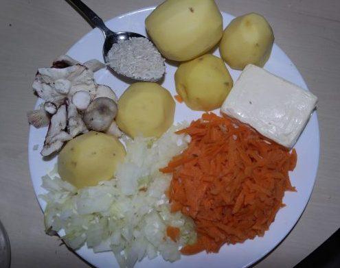 картошка, морковь, лук, рис,сыр