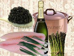Филе Сан-пьера со спаржей и черной икрой, под соусом «Шампань»